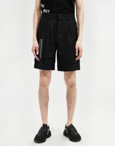Black Pockets Inelastic Fitted Short Men's Pants