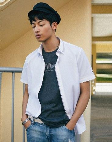 White Pointed Collar Short Sleeve Standard Men's Shirt