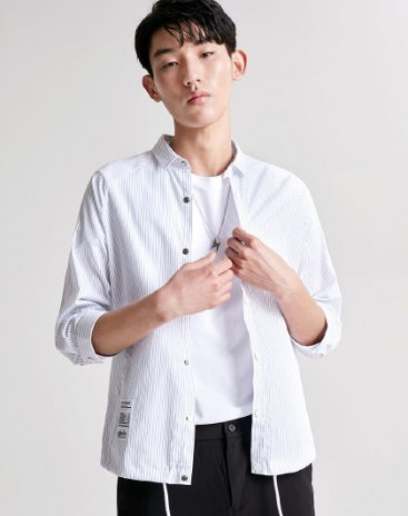 White Stripes Pointed Collar Half Sleeve Fitted Men's Shirt