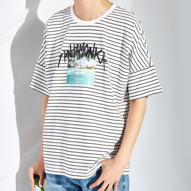 White Round Neck Short Sleeve Standard Men's T-Shirt