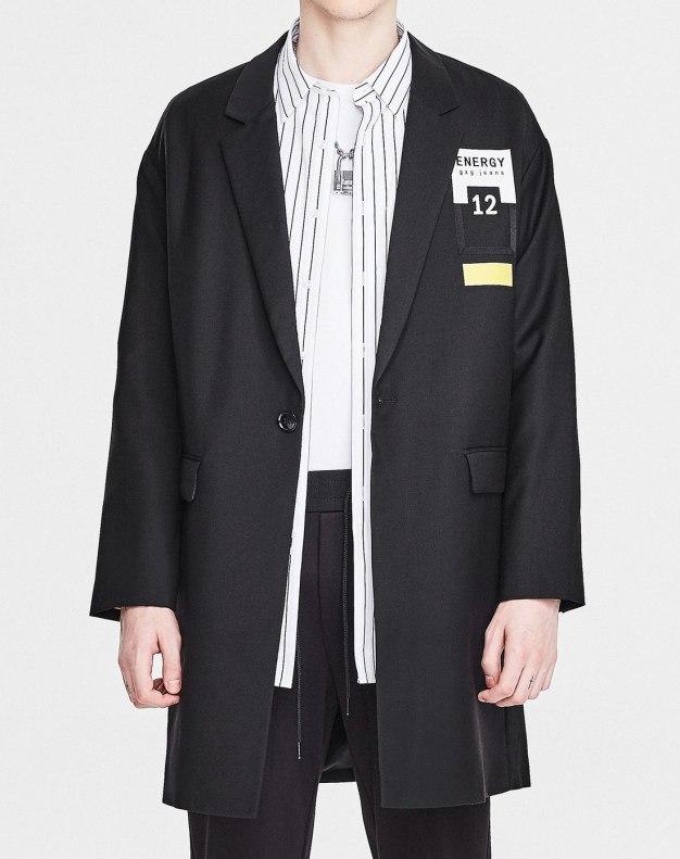 Black Stand Collar Long Sleeve Standard Men's Windbreaker
