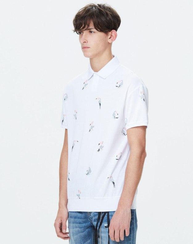 White Animal Neck Short Sleeve Standard Men's Polo