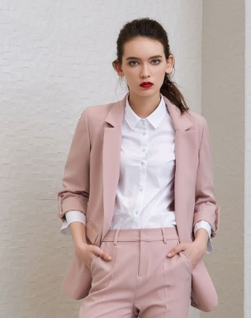 Pink Plain Suit Collar One Botton Long Sleeve Women's Outerwear