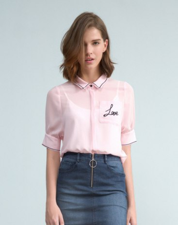 Pink Lapel Single Breasted Short Sleeve Loose Women's Shirt