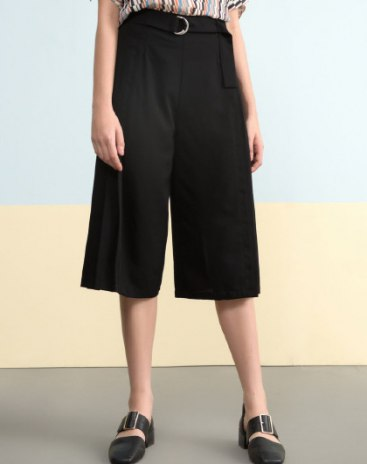 Black High Waist Paneled 3/4 Length Women's Pants