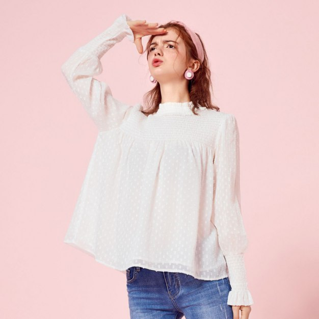 White Stand Collar Long Sleeve Standard Women's Shirt