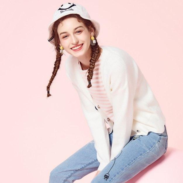 Beige Plain V Neck Long Sleeve Women's Knitwear
