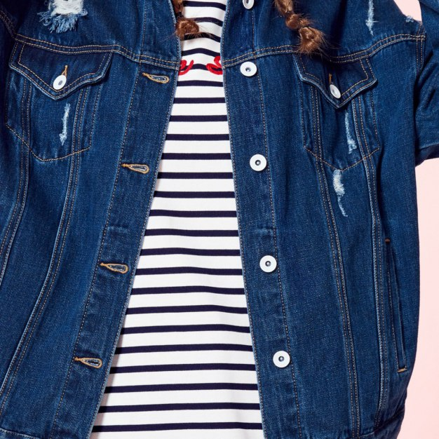 Blue Plain Lapel Long Sleeve Women's Jacket