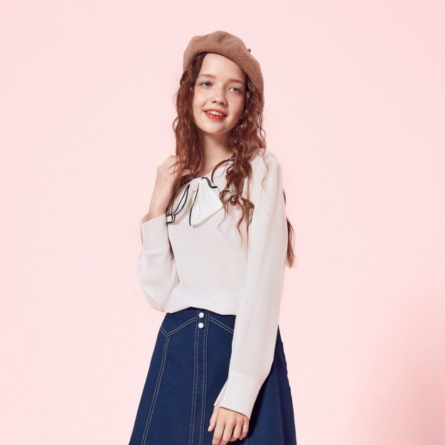 Plain Round Neck Long Sleeve Standard Women's Shirt