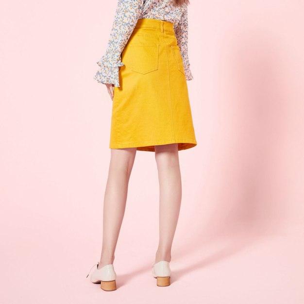 Yellow Women's A Line Skirt