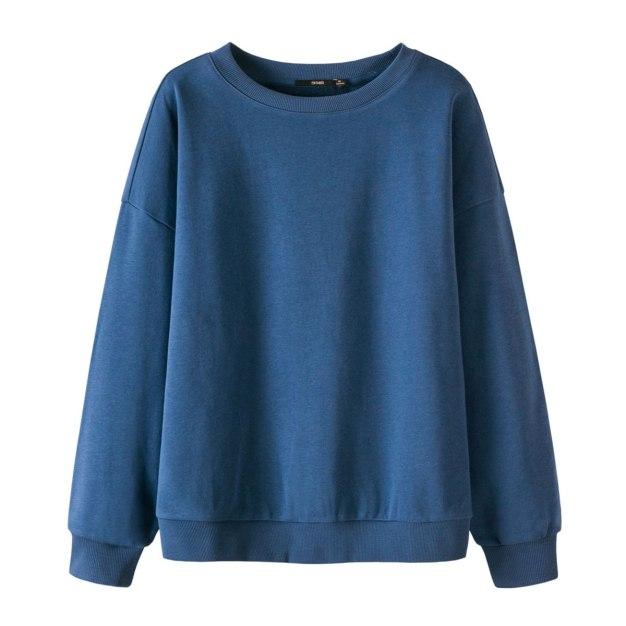 Plain Round Neck Elastic Long Sleeve Loose Women's Sweatshirt
