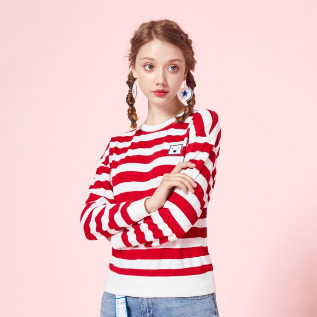 Stripes Round Neck Long Sleeve Loose Women's Sweatshirt