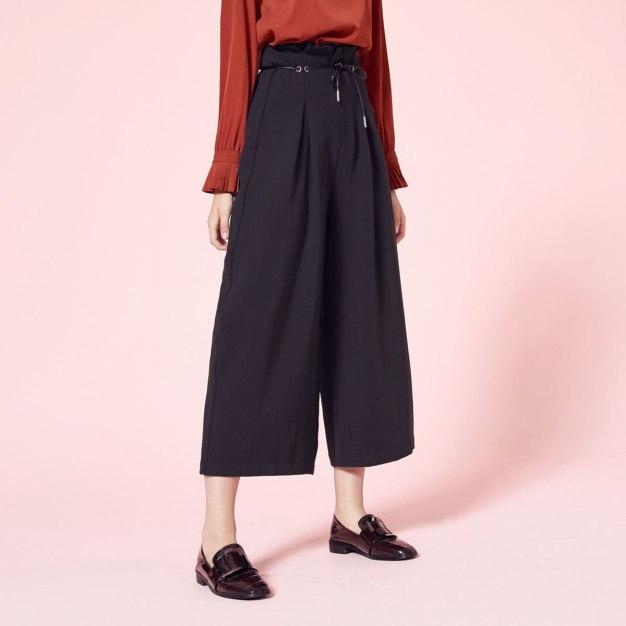 Black High Waist Sewing Long Women's Pants