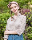 Plain Ruffle Neck Drawstring Type 3/4 Sleeve Women's Shirt