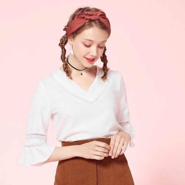 White Plain V Neck 3/4 Sleeve Standard Women's Shirt