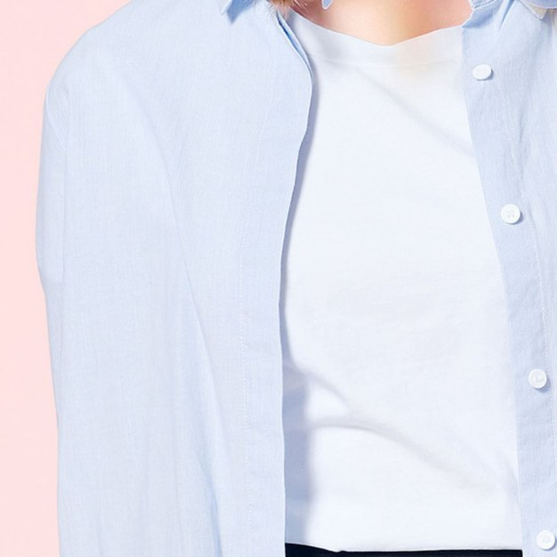 White Square Neck Single Breasted Long Sleeve Women's Shirt
