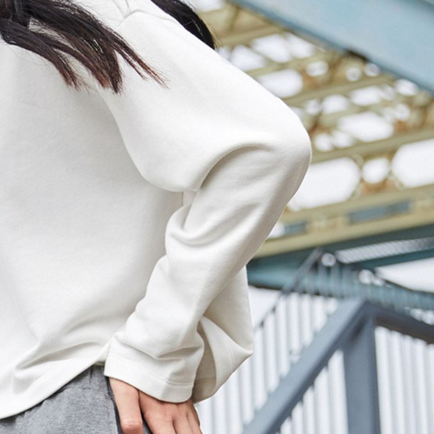 White Strappy Neck Elastic Long Sleeve Loose Women's Sweatshirt