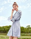 Round Neck Long Sleeve 3/4 Length A Line Loose Women's Dress