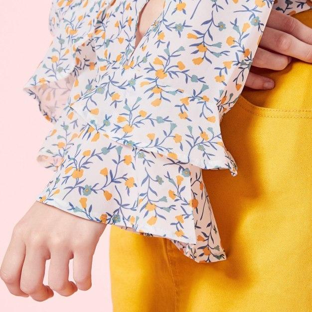 White Print Round Neck Long Sleeve Standard Women's Shirt