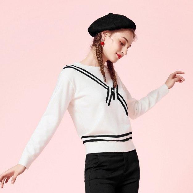 Stripes Round Neck Elastic Long Sleeve Women's Knitwear