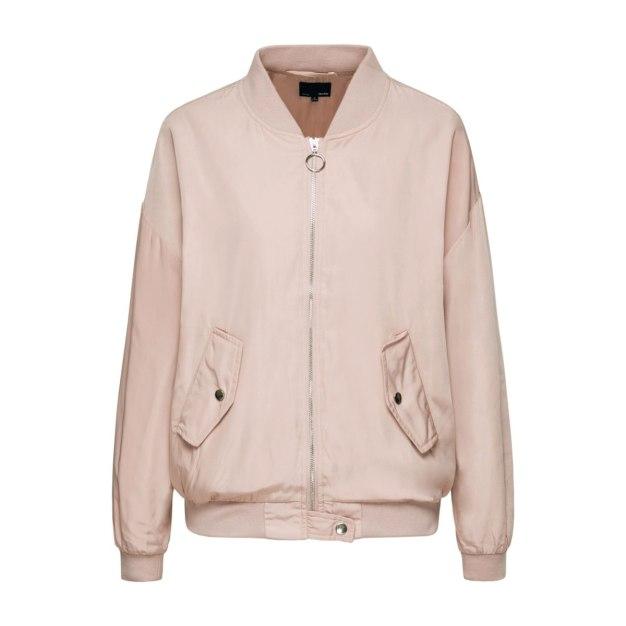 Black Stand Collar Long Sleeve Loose Women's Jacket
