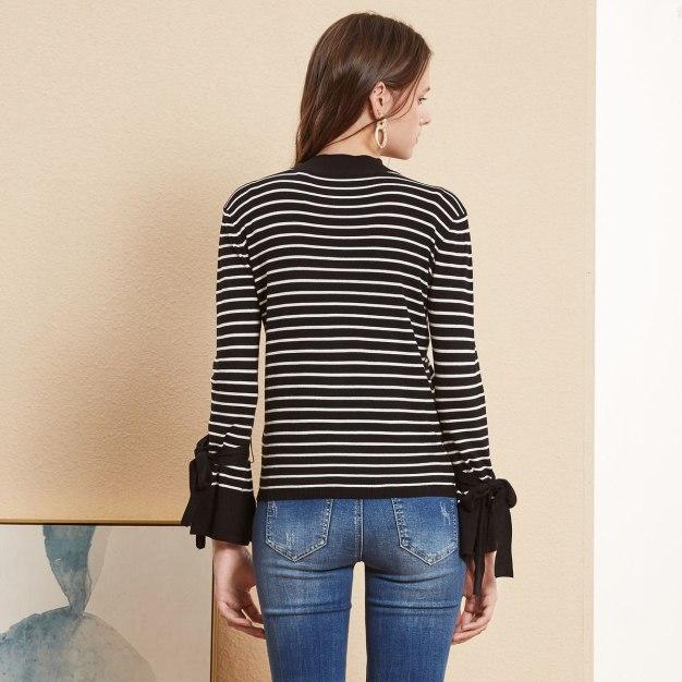White Stripes Half High Collar Elastic Women's Knitwear
