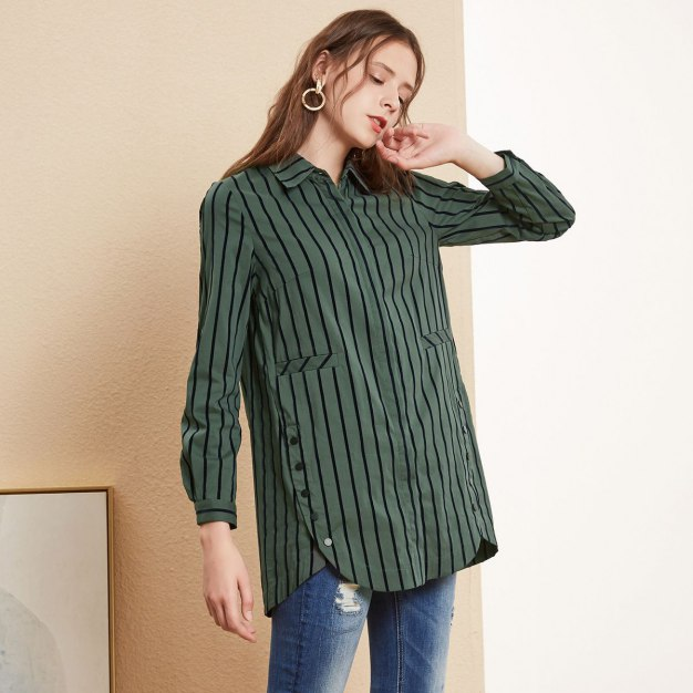 Stripes Lapel Single Breasted Long Sleeve Loose Women's Shirt