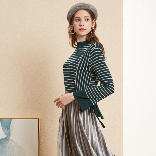 Stripes Half High Collar Elastic Long Sleeve Women's Knitwear
