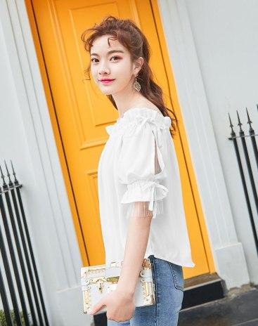 White Plain Short Sleeve Loose Women's Shirt