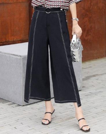 Black High Waist Belt Cropped Women's Pants