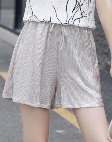 High Waist Pleates Short Women's Pants
