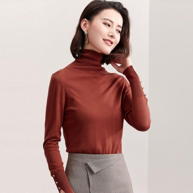 High Neck Long Sleeve Standard Women's Sweater