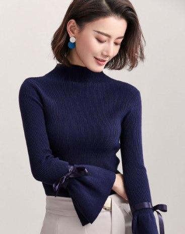 Blue Plain Round Neck Long Sleeve Fitted Women's Knitwear