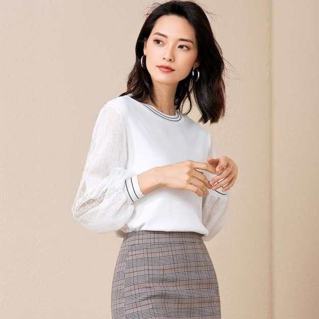 White Plain Round Neck Long Sleeve Standard Women's Knitwear