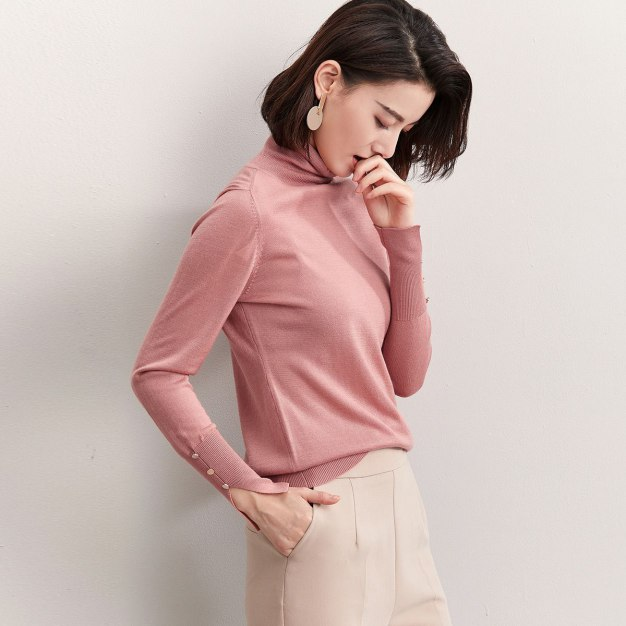 Pink High Neck Long Sleeve Standard Women's Sweater