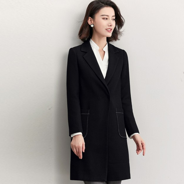 Black Plain Round Neck Long Sleeve Women's Suit & Blazers