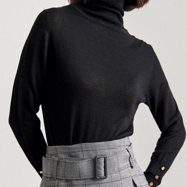Black High Neck Long Sleeve Standard Women's Sweater