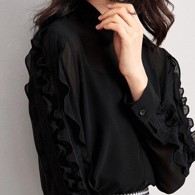 Black Plain Square Neck Long Sleeve Women's Shirt