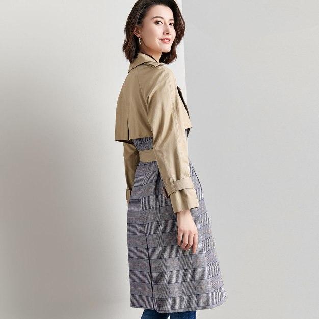 Suit Collar Double Breasted Long Sleeve Women's Windbreaker