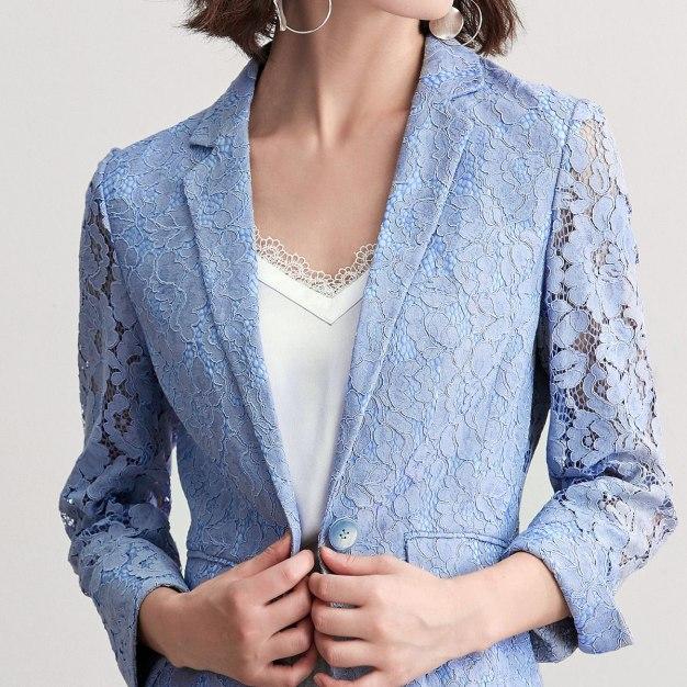 Suit Collar One Botton Cropped Sleeve Women's Suit & Blazers