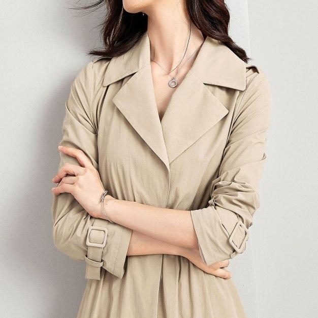 Suit Collar Fitted Long Sleeve Women's Windbreaker