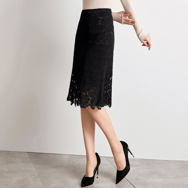 Black 3/4 Length Women's A Line Skirt