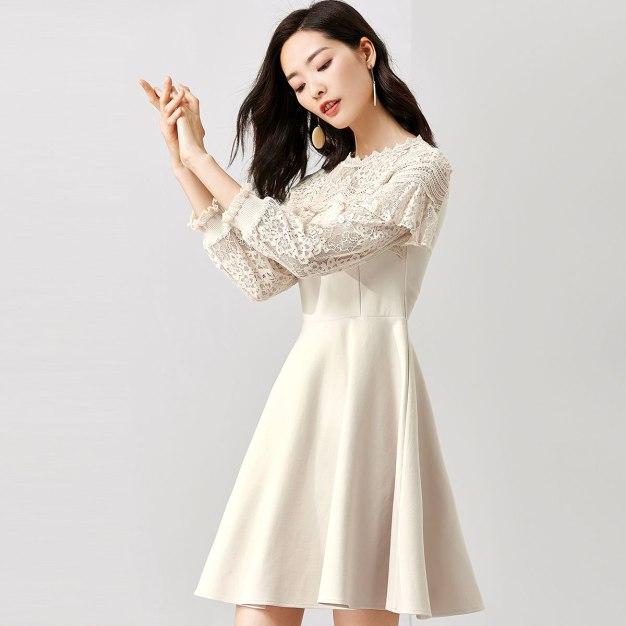 Apricot Round Neck Long Sleeve Standard Women's Dress