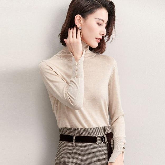 Apricot High Neck Long Sleeve Standard Women's Sweater