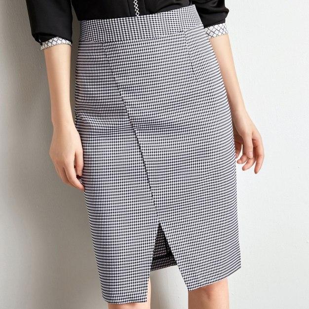 White 3/4 Length Women's Pencil Skirt
