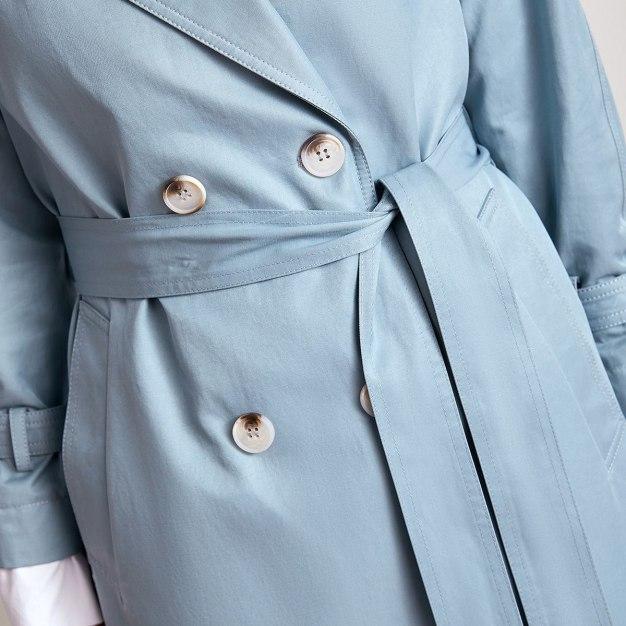 Blue Suit Collar Long Sleeve Women's Windbreaker