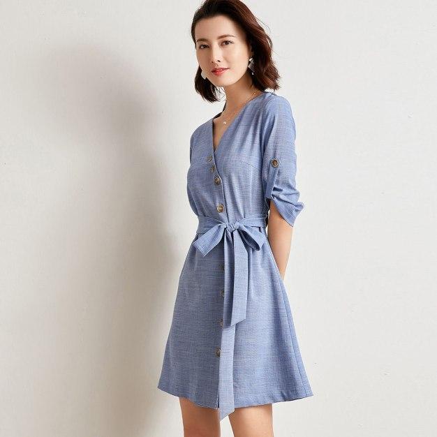 Blue V Neck Sleeve 3/4 Length Fitted Women's Dress