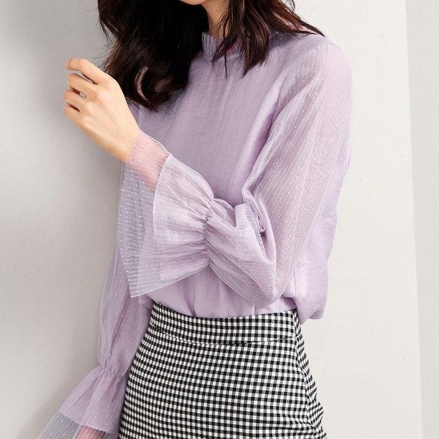 Plain Round Neck Single Breasted Long Sleeve Women's Shirt