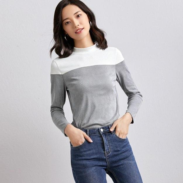 Gray Plain Half High Collar Long Sleeve Standard Women's T-Shirt