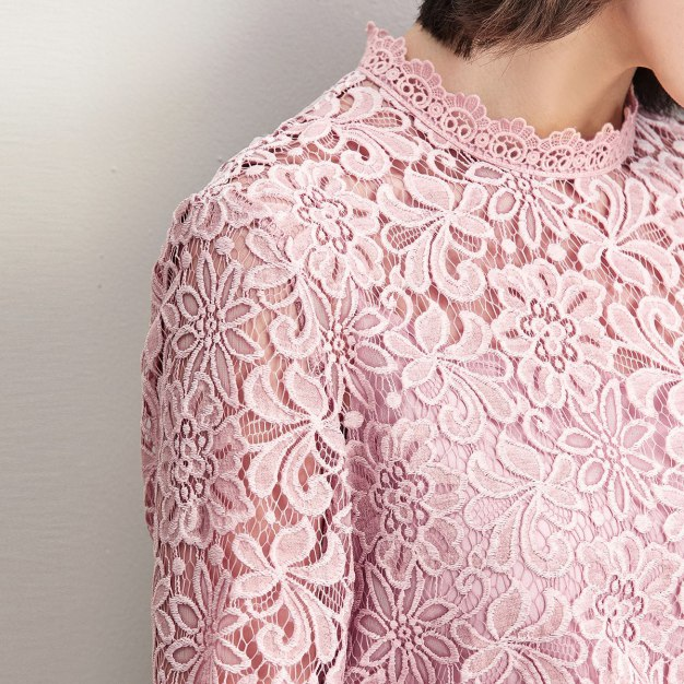 Gray Round Neck One Botton Long Sleeve Standard Women's Shirt